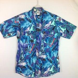 Vintage Roper Aztec Western Camp Shirt Mens XL